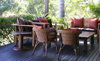 Outdoor seating on the Homestead Verandah